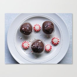Candy Cane Cake Truffles: Take One Canvas Print