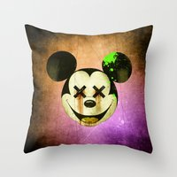 mickey Throw Pillows featuring Mickey by wrong planet