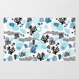 Teal blue black hand painted nautical abstract sea coral pattern Rug