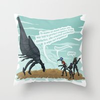 mass effect Throw Pillows featuring Mass Effect - Sass Effect by calicoJill