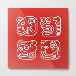 Mayan Glyphs ~ Heads Metal Print