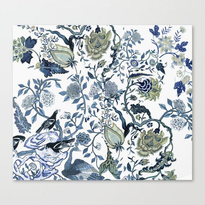 Blue vintage chinoiserie flora Leinwanddruck