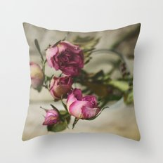 Yesterday's Roses Throw Pillow