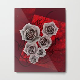 Cool Love, Desaturated Roses on Red Background Metal Print