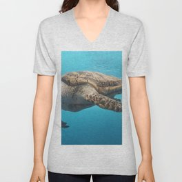 A turtle glides through the water at the Texas State Aquarium in Corpus Christi Unisex V-Neck