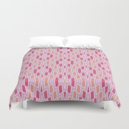 Tribal Diamond Pattern in Pink and Peach Duvet Cover