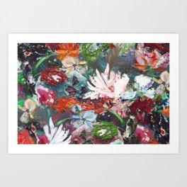 Flower piece petrol red | by Martine de Ruiter Art Print