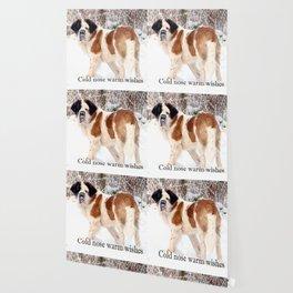 Snow sniffing St Bernard dog Wallpaper