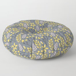 Mod Floral Yellow on Gray Floor Pillow