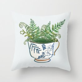 Fern in a Blue and White Tea Cup Throw Pillow