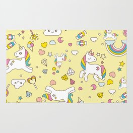 Unicorn Yellow Pattern Rug
