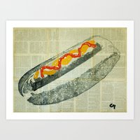 hot dog Art Prints featuring hot dog  by Marat Cherny