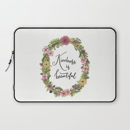 Kindness is beautiful. Watercolor floral wreath illustration. Brush lettering calligraphy. Laptop Sleeve