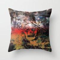 fear Throw Pillows featuring FEAR by sametsevincer