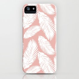 White Tropical Palm Tree Fern Leaf on Rose Gold Pattern iPhone Case