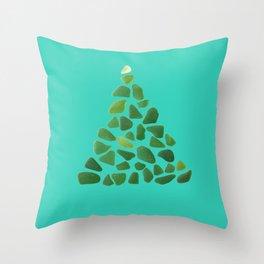 Green Sea Glass Tree on Turquoise #seaglass #Christmas Throw Pillow
