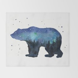 Forest Bear Silhouette Watercolor Galaxy Throw Blanket
