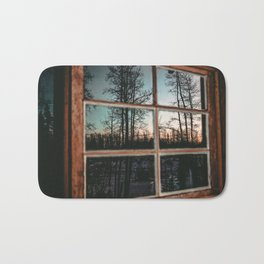 Lumberjack Cabin Window // Grainy Reflection of the Sunset and Trees Bath Mat