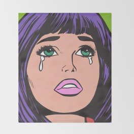 Purple Bangs Crying Comic Girl Throw Blanket