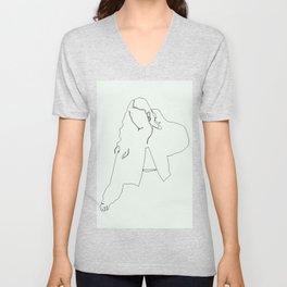 Feeling good in the morning, fashion woman single line drawing, stylish vintage posters set Unisex V-Neck