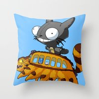invader zim Throw Pillows featuring My Invader Neighbor by HelloTwinsies