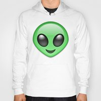 emoji Hoodies featuring Alien Emoji by Nolan Dempsey