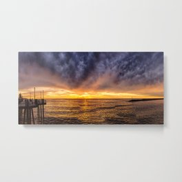 Redondo Beach Stormy Sunset Metal Print
