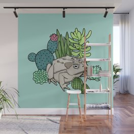 Toad with Succulents - Turquoise Wall Mural