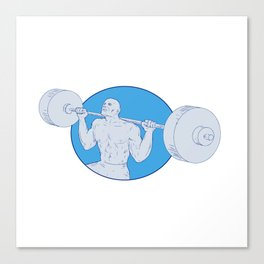 Strongman Powerlifting Barbell Drawing Canvas Print