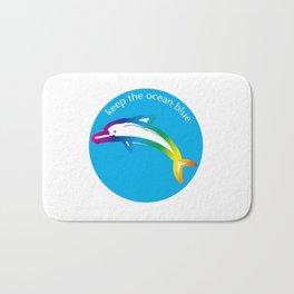 Keep the Ocean Blue_Rainbow Dolphin_C Bath Mat