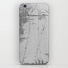 14-Miami Florida 1950 old vintage gray map iPhone Skin