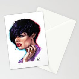 Dark Haired Woman Stationery Cards