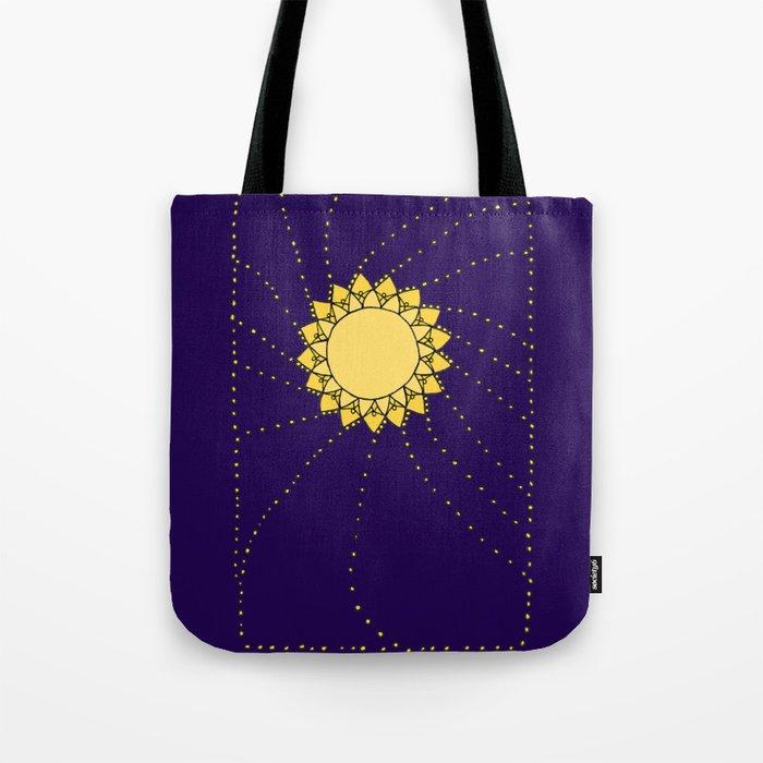 Celestial Swirling Sun Boho Mandala Hand-drawn Illustration Tote Bag