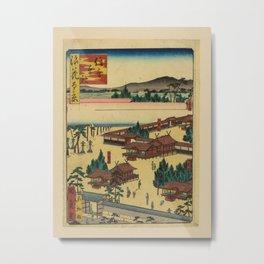 Utagawa Yoshitaki - 100 Views of Naniwa: Main Shrine of Sumiyoshi (1880s) Metal Print