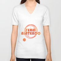 nintendo V-neck T-shirts featuring Team Nintendo by Bradley Bailey