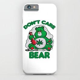 DO NOT CARE BEAR SMOKING WEED Bong Hemp Leaf 420 iPhone Case