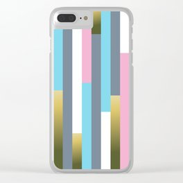 Colorful vertical wood planks pattern Clear iPhone Case