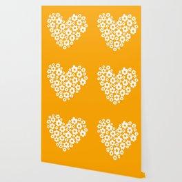 Floral Heart - Orange Wallpaper