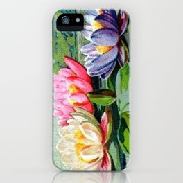 Vintage Lily Pad Floral Pond Lilies iPhone Case