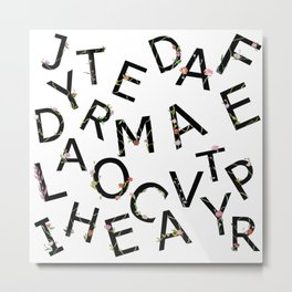 Letters Pattern Metal Print