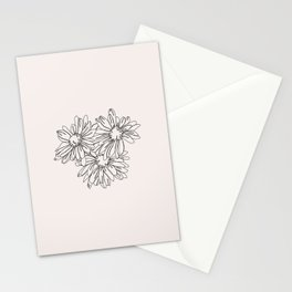 Daisy flowers line drawing - Nina I Stationery Cards
