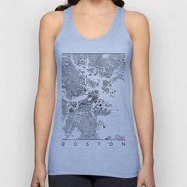 Boston Map Schwarzplan Only Buildings Unisex Tank Top