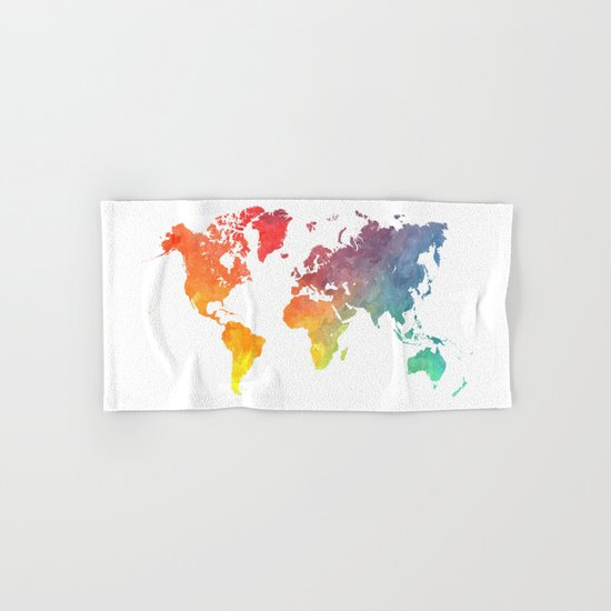 Map of the world colored Hand & Bath Towel
