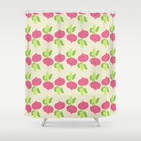 vegetable Shower Curtains featuring VEGETABLE-RADISH! by Claudia Ramos Designs