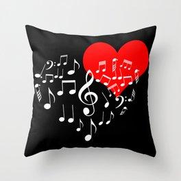 Singing Heart White On Black Throw Pillow