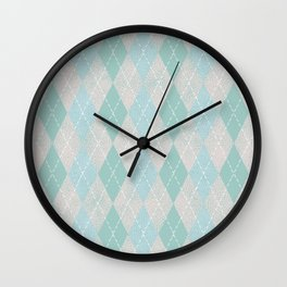 Textured Argyle in Pastel Pink, Blue and Sea Foam Wall Clock