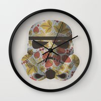 trooper Wall Clocks featuring STRAWBEЯRY TROOPER by Beardy Graphics