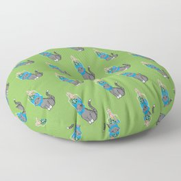 Grey Tabby Wears Recycled Plastic Hat Floor Pillow
