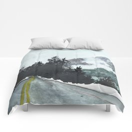 vancouver island // watercolor landscape canada snow mountain road roadtrip Comforters