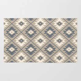 Aztec Symbol Stylized Pattern Blue Cream Sand Rug